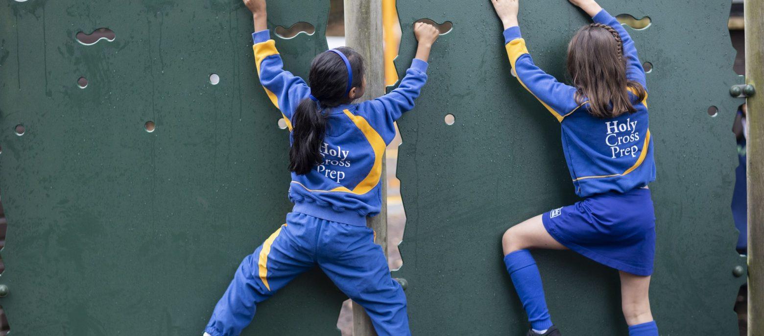 children rock climbing